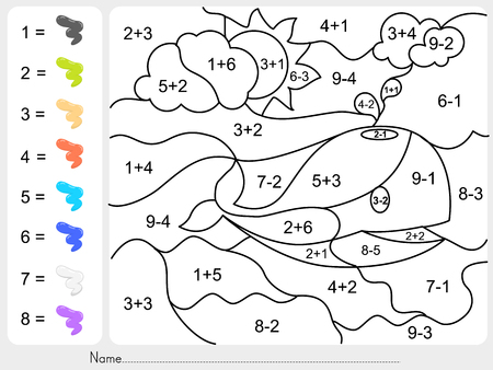 addition: Paint color by addition and subtraction numbers - Worksheet for education