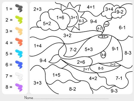 Verf kleur door het optellen en aftrekken nummers - werkblad voor het onderwijs Stock Illustratie