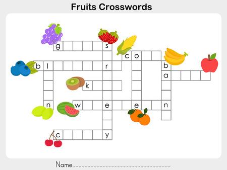 banana sheet: Fruits Crosswords - Worksheet for education Illustration