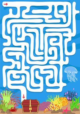 doolhof spel met find schat onderwater Stock Illustratie