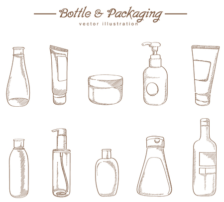 beauty spa: Cosmetic packaging hand drawing sketch