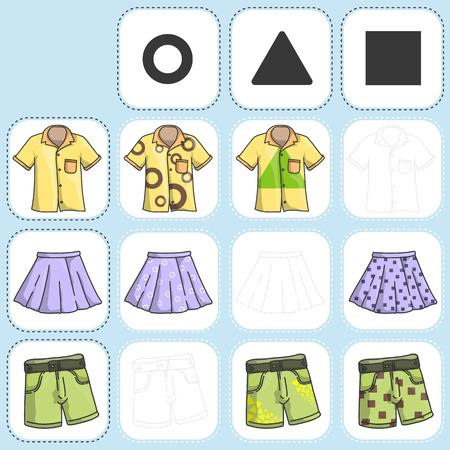 Mezclar la ropa con el modelo - dibujar y pintar - Hoja de trabajo para la educación Ilustración de vector