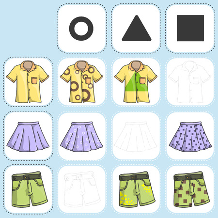 habiliment: Mix clothing with pattern - Draw and paint - Worksheet for education Illustration