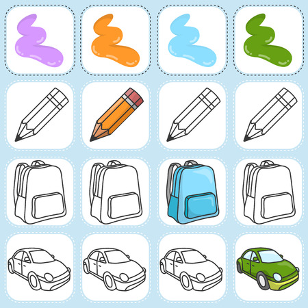 assigned: Paint the object as assigned - Worksheet for education Illustration