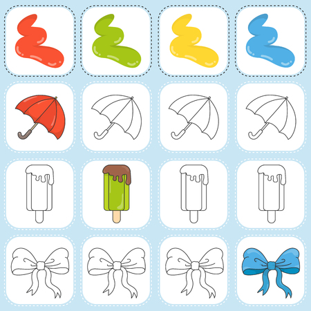 ribbin: Paint the object as assigned - Worksheet for education Illustration