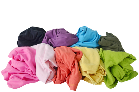messy clothes: messy colorful clothes - pile of colorful shirts