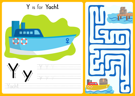 kids fun: Alphabet A-Z Tracing and puzzle Worksheet,  Exercises for kids - illustration and vector - A4 paper ready to print Illustration