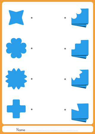 paper fold: Match the missing paper -  Fold a piece of paper