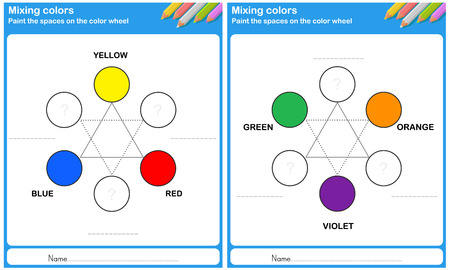 color mixing: Mixing color - paint the space on the color wheel