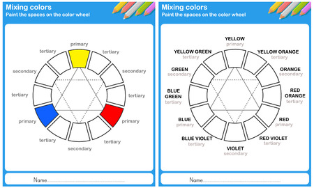 practice primary: Mixing color - paint the space on the color wheel