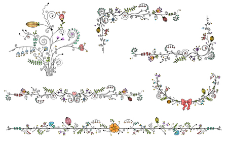 Vector set of decorative elements, Black border and color flower 일러스트