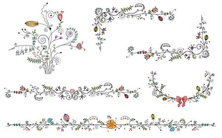 Vector set van decoratieve elementen, zwarte rand en kleur bloem