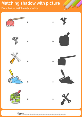 shadow match: Match construction tools with shadow - Worksheet for education