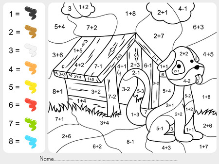 subtraction: Paint color by addition and subtraction numbers - Worksheet for education