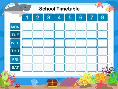 educational: Timetable for school Illustration