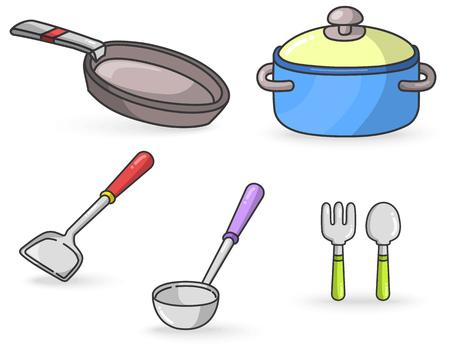 utencilios de cocina: Herramientas de la cocina colorido del vector