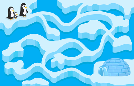 Vector maze game with penguin finding the house