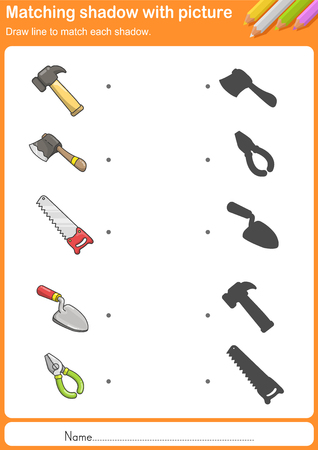 Match construction tools with shadow - Worksheet for education