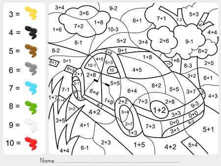 Paint color by addition and subtraction numbers - Worksheet for education 版權商用圖片 - 60530827