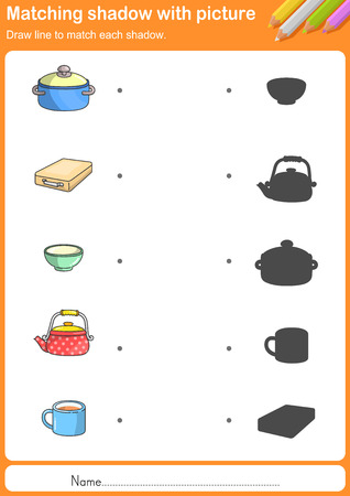 shadow match: Match kitchen tools with shadow - Worksheet for education
