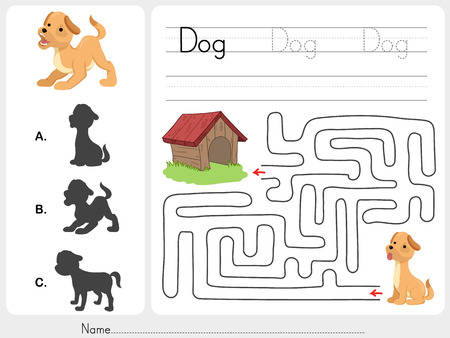 vowel: Maze game and Match dog with shadow - Worksheet for education