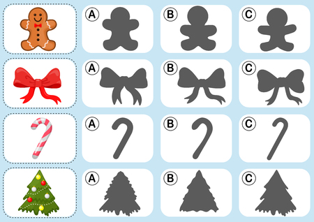 xmas tree: Christmas theme activity sheet - Match the shadow - Worksheet for education