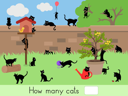 Counting educational children game, kids activity sheet. How many cats - Worksheet for education Ilustração
