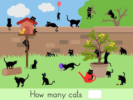Tellen educatief spel voor kinderen, kinderen werkblad. Hoeveel katten - het werkblad voor het onderwijs
