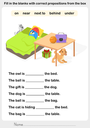Fill in the blanks with correct prepositions - preposition worksheet for education 일러스트