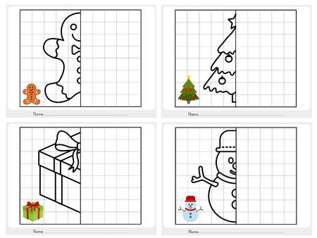 symmetrical: Christmas theme activity sheet - Symmetrical picture - Worksheet for education