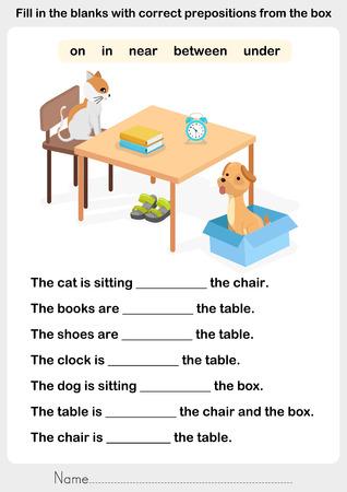 zapatos escolares: Llene los espacios en blanco con las preposiciones correctas - hoja de trabajo para la educación preposición