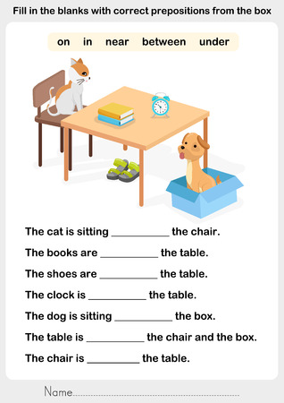 Fill in the blanks with correct prepositions - preposition worksheet for education Stock Illustratie