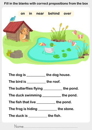 Fill in the blanks with correct prepositions - preposition worksheet for education Vectores