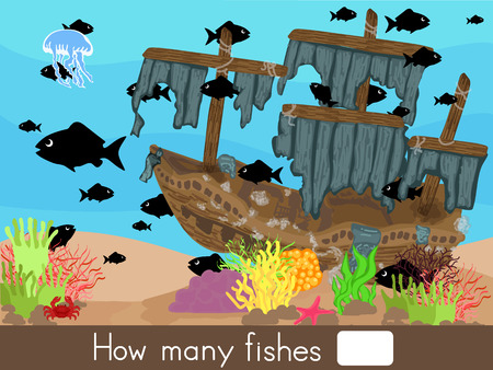 Counting game. How many fishes - Worksheet for education 矢量图像