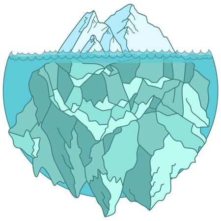 Large iceberg floating in water, cycle shape