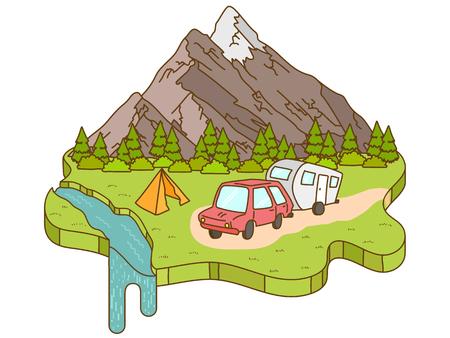 Het kamperen tent in de buurt van de bergen op de achtergrond. Camper auto rijden op de weg naar de bergen Vector Illustratie