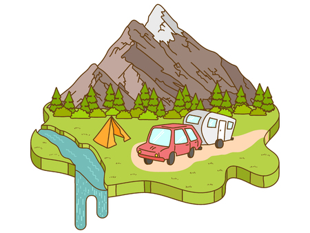 Camping tent near the mountains in the background. Motorhome car traveling on the road to the mountains