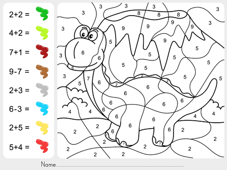 Paint color by numbers - addition and subtraction worksheet for education Ilustrace