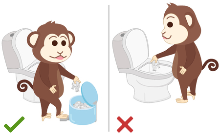 excrete: Monkey feel good and bad practice in use toilet.