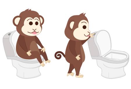 Monkey sitting on the toilet and flush toilet