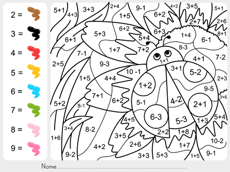 Paint color by numbers - addition and subtraction worksheet for education Vettoriali
