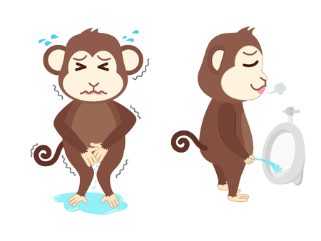 Monkey  need a pee and standing peeing Illustration