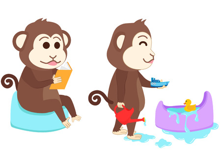 excrete: Monkey sitting on potty read a book and playing