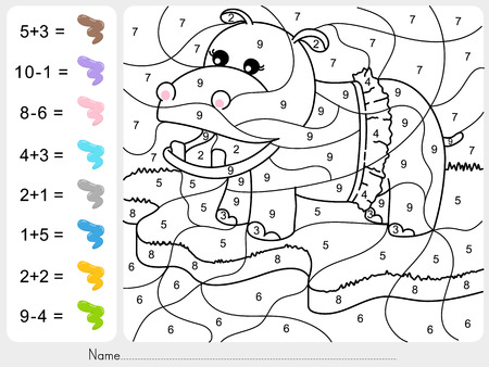 Paint color by numbers - addition and subtraction worksheet for education Illustration
