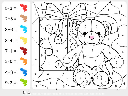 subtraction: Paint color by numbers - addition and subtraction worksheet for education Illustration
