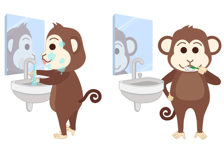 Monkey wash face and brush teeth at bathroom. Illustration