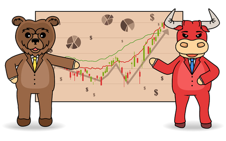 Stock exchange trading. The bulls and bears stock market concept illustration.