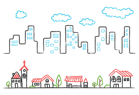 windows home: Cartoon hand drawing of city landscape and small town. vector illustration on white background.