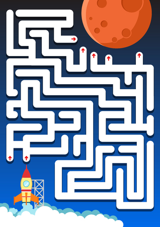 Maze game: Help rocket find the way to mars - worksheet for education
