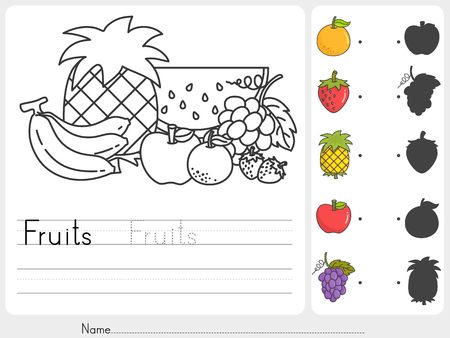 Fruits painting and match with shadows - worksheet for education